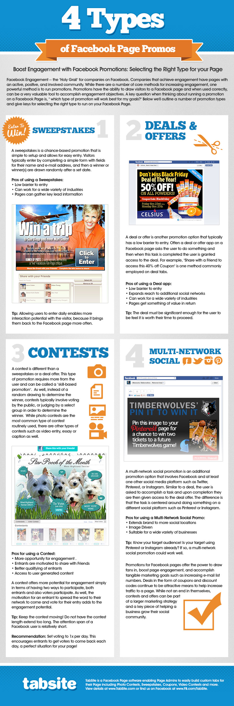 Facebook Contest and Promotions Types INFOGRAPHIC by TabSite